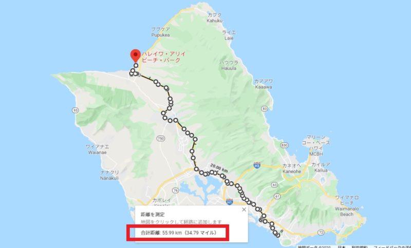 ハワイはオワフ島を中心としたGoogleMap上の地図。