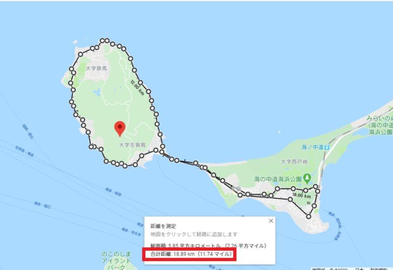 志賀島を中心としたGoogleMap上の地図。
