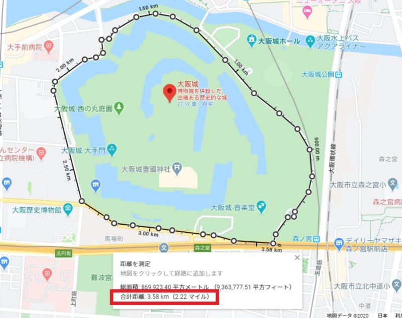 大阪城公園を中心としたGoogleMap上の地図。