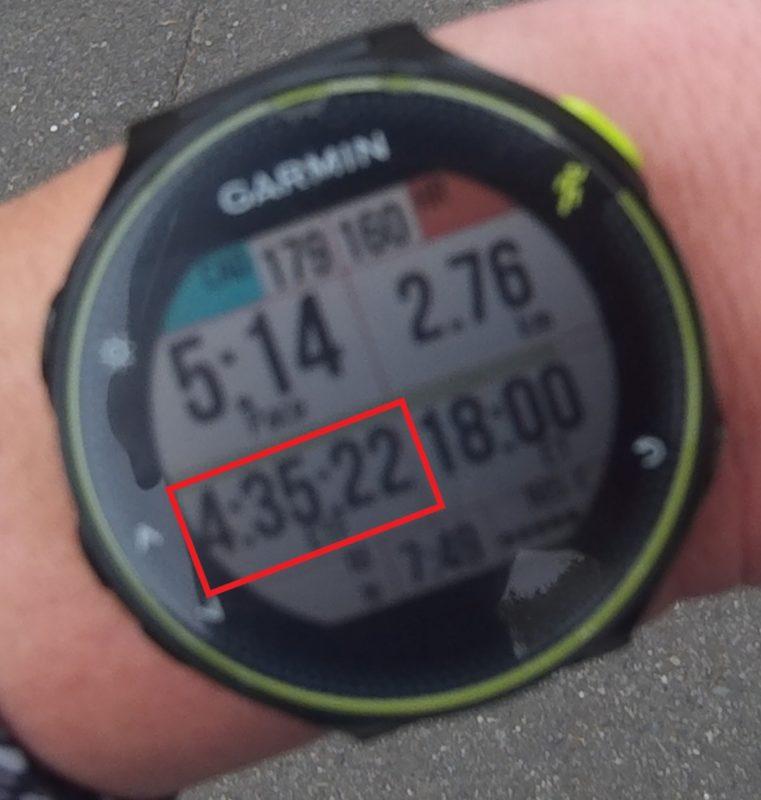 走行中のDozen Run画面(Finishタイム予想時間表示)