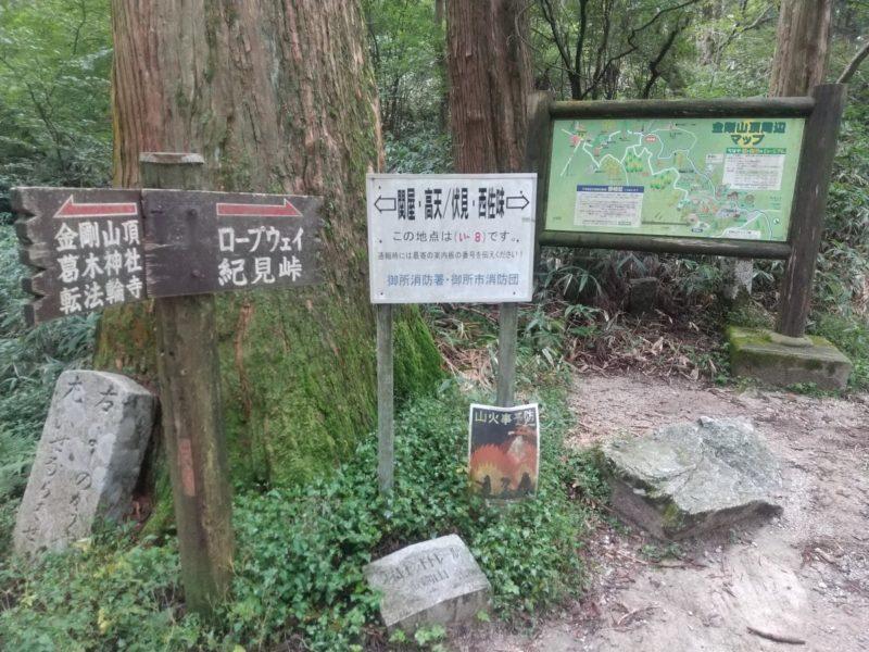 金剛山のダイヤモンドトレール分岐路画像