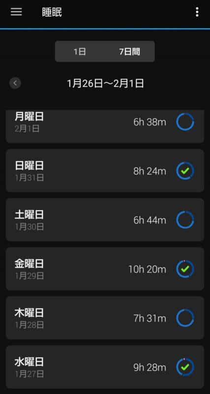 睡眠時間(7日間)